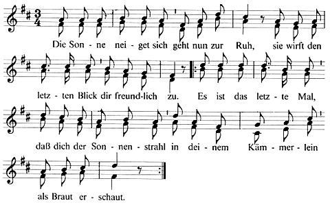 Noten und Text zum Brautlied