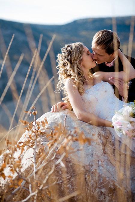 Kissing wedding couple