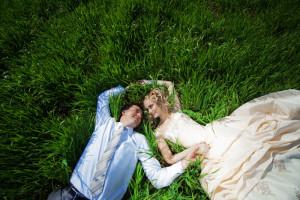 Wedding couple in grass