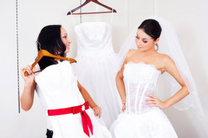 girl choosing a wedding dress